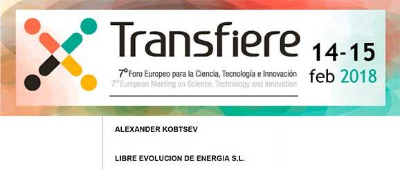 LIBRE EVOLUCION DE ENERGIA S.L. participa en el Foro Transfiere 2018